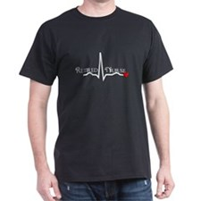 Retired Nurse QRS darks Red heart T-Shirt