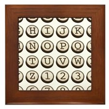 Old Fashioned Typewriter Keys Framed Tile