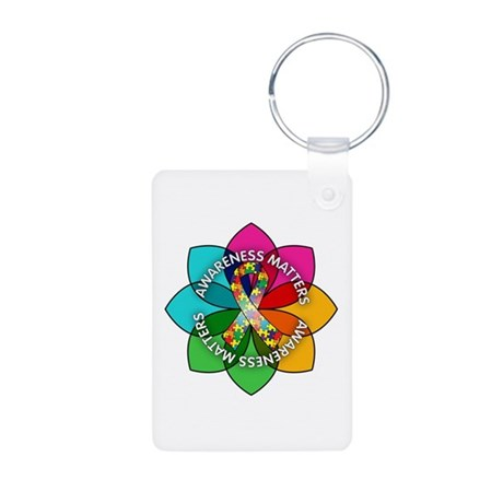 Autism Awareness Petal Aluminum Photo Keychain