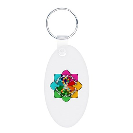 Autism Awareness Petal Aluminum Oval Keychain