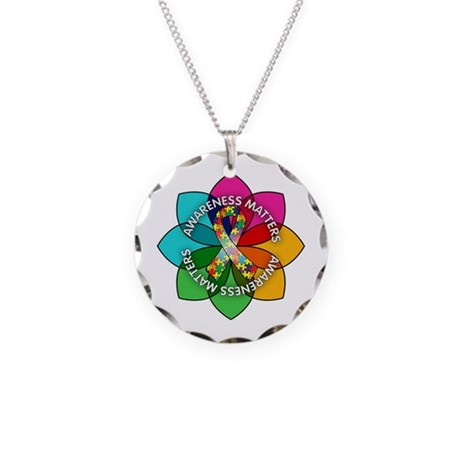 Autism Awareness Petal Necklace Circle Charm