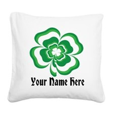 Customizable Stacked Shamrock Square Canvas Pillow