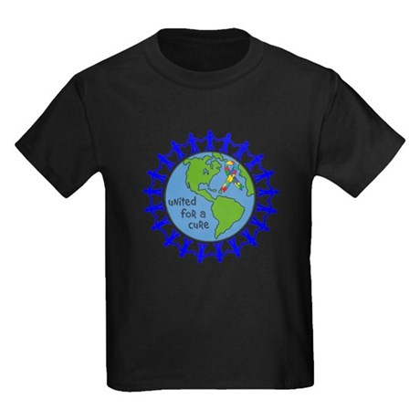 Autism United For A Cure Kids Dark T-Shirt