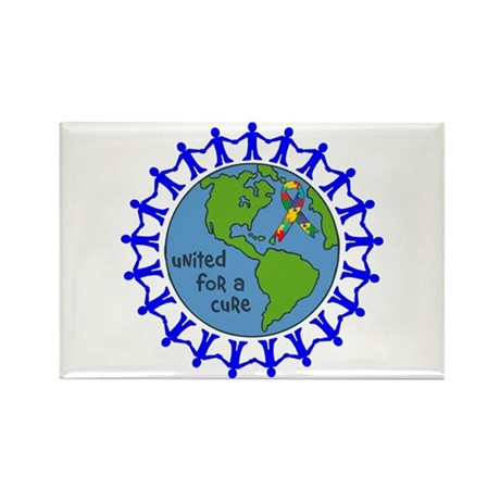 Autism United For A Cure Rectangle Magnet