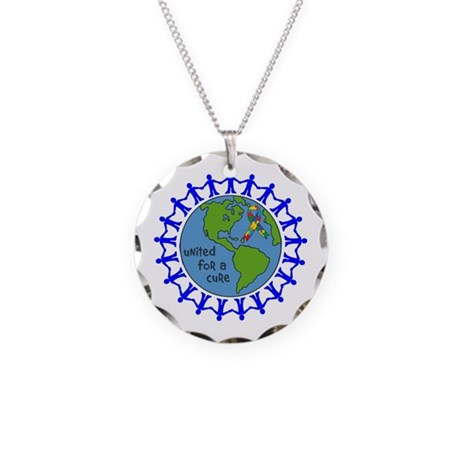 Autism United For A Cure Necklace Circle Charm