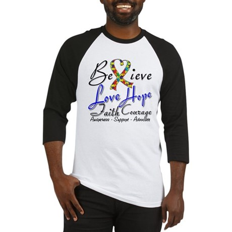 Autism Believe Heart Collage Baseball Jersey