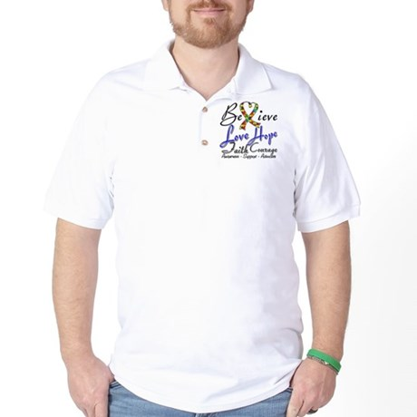 Autism Believe Heart Collage Golf Shirt