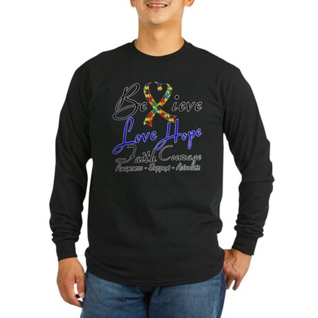 Autism Believe Heart Collage Long Sleeve Dark T-Sh
