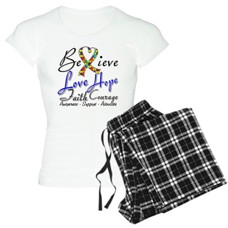 Autism Believe Heart Collage Women's Light Pajamas