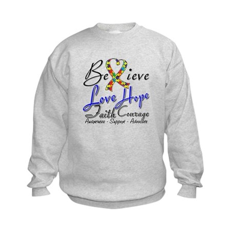 Autism Believe Heart Collage Kids Sweatshirt