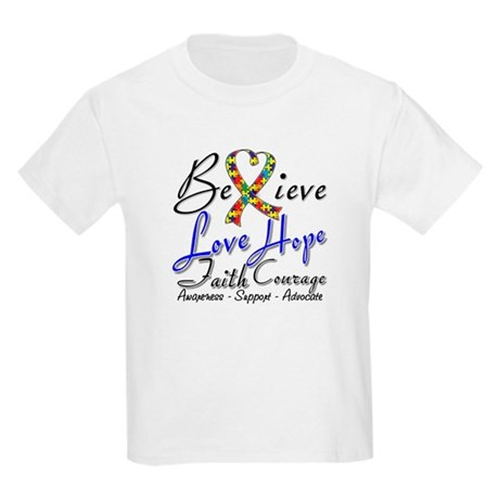 Autism Believe Heart Collage Kids Light T-Shirt