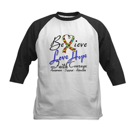 Autism Believe Heart Collage Kids Baseball Jersey