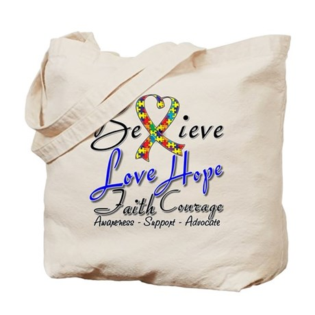 Autism Believe Heart Collage Tote Bag
