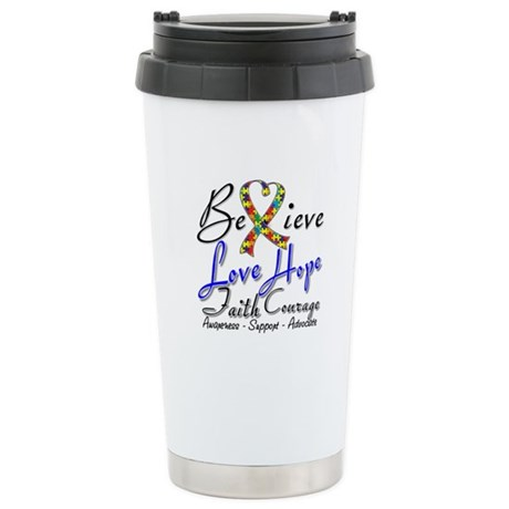 Autism Believe Heart Collage Ceramic Travel Mug
