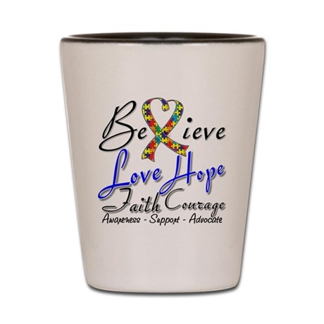 Autism Believe Heart Collage Shot Glass