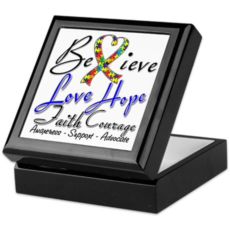 Autism Believe Heart Collage Keepsake Box