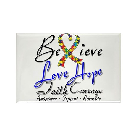 Autism Believe Heart Collage Rectangle Magnet