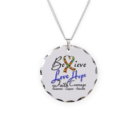 Autism Believe Heart Collage Necklace Circle Charm