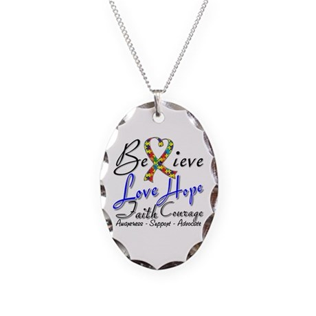 Autism Believe Heart Collage Necklace Oval Charm