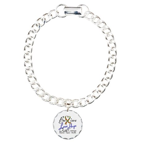 Autism Believe Heart Collage Charm Bracelet, One C