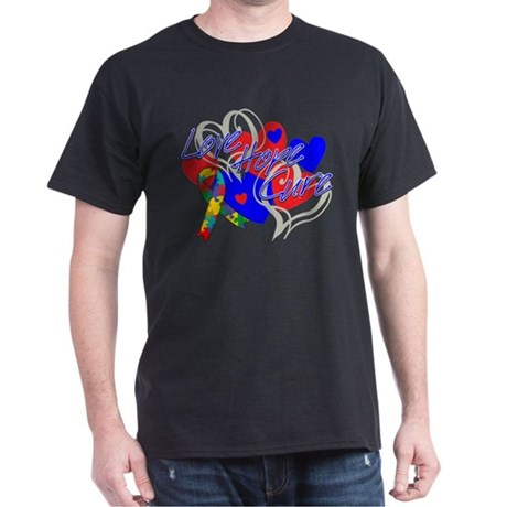 Autism Love Hope Cure Dark T-Shirt