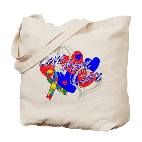 Autism Love Hope Cure Tote Bag