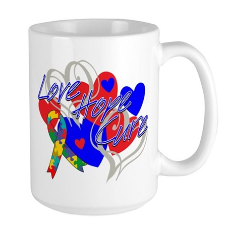Autism Love Hope Cure Large Mug