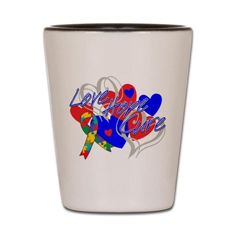 Autism Love Hope Cure Shot Glass