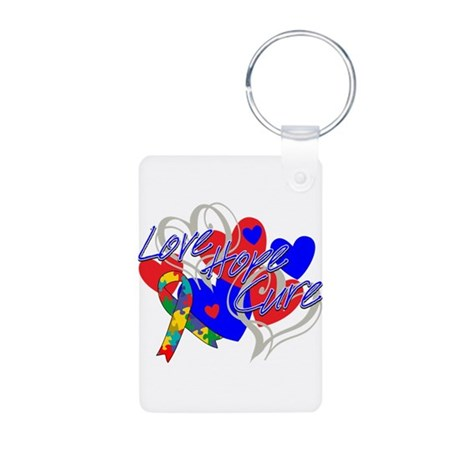 Autism Love Hope Cure Aluminum Photo Keychain