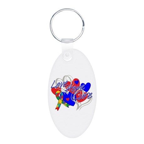 Autism Love Hope Cure Aluminum Oval Keychain