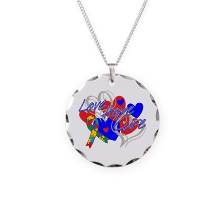 Autism Love Hope Cure Necklace Circle Charm