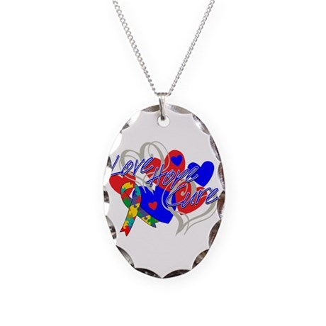 Autism Love Hope Cure Necklace Oval Charm