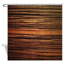 Dark Wood Grain Veneer Shower Curtain