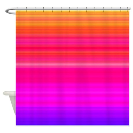 Orange Red Blue Stripes Shower Curtain By Thehomeshop