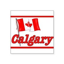 Canada Flag - Calgary Text Rectangle Sticker