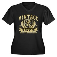 Vintage 1973 Women's Plus Size V-Neck Dark T-Shirt