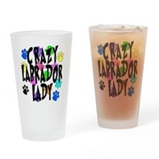 Crazy Labrador Lady Drinking Glass