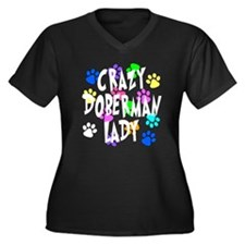 Crazy Doberman Lady Women's Plus Size V-Neck Dark