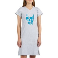 Blue Skull Face Women's Nightshirt