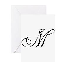 Champagne Monogram M Greeting Card