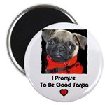 I PROMISE ILL BE GOOD SANTA PUG Magnet