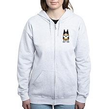 Black Headed Tri-colored Corgi Reb Design Zip Hood