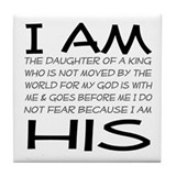I am His block letters Tile Coaster