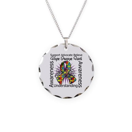 Autism Awareness Inspirations Necklace Circle Char