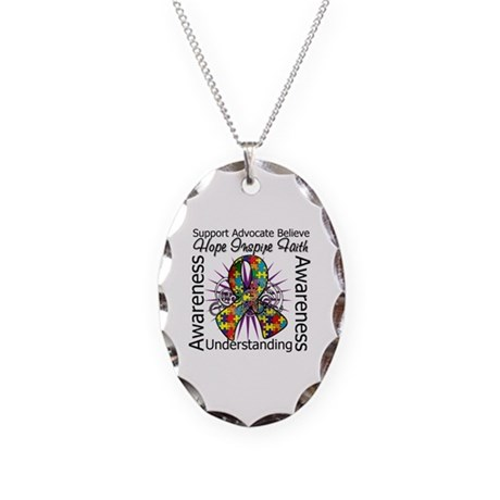 Autism Awareness Inspirations Necklace Oval Charm