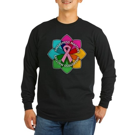 Breast Cancer Awareness Petals Long Sleeve Dark T-