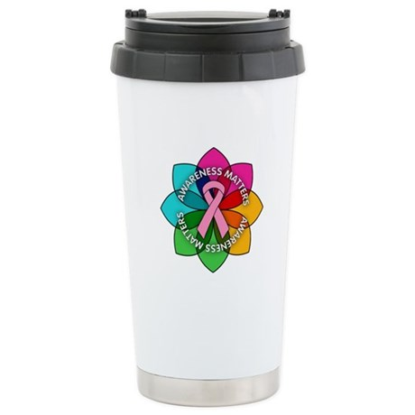 Breast Cancer Awareness Petals Ceramic Travel Mug