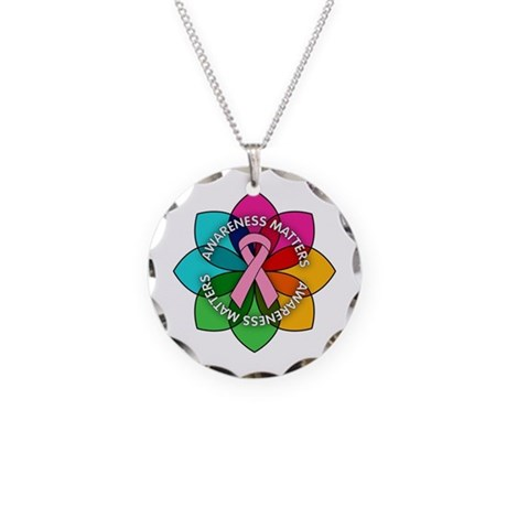 Breast Cancer Awareness Petals Necklace Circle Cha