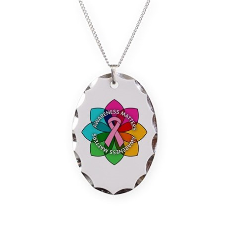 Breast Cancer Awareness Petals Necklace Oval Charm