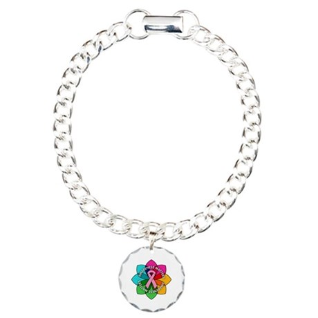 Breast Cancer Awareness Petals Charm Bracelet, One